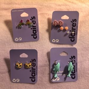 Claire's Earrings Cats Unicorns Sharks !